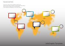 Map with pointers. World map with pointers and pie charts Stock Images