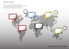 Map with pointers. World map with pointers and pie charts Stock Photos