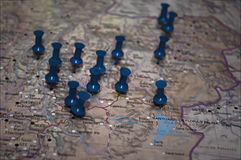 Map with points. Picture of a Map with blue points stock photos