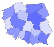Map of Poland. Abstract map of poland in blue colours stock photography
