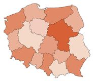 Map of Poland. Abstract map of poland in red colours royalty free stock photo