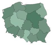 Map of Poland Stock Image