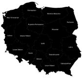 Map of Poland. Blind map of Poland with regions borders and names of the  16 province Stock Photos