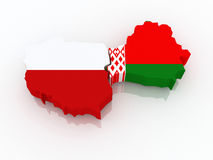 Map of Poland and Belarus. Royalty Free Stock Photography