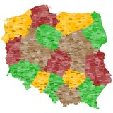 Map of Poland. A colorful, detailed map of Poland with all provinces and big cities Royalty Free Stock Photos