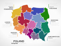Map of Poland. Concept infographic template with regions made out of puzzle pieces Royalty Free Stock Image