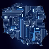 Map of Poland with electronic circuit Stock Images