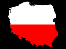 Map of Poland and Polish flag Royalty Free Stock Photography