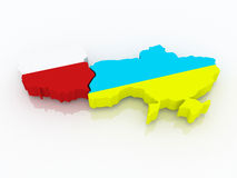 Map of Poland and Ukraine. Stock Photos