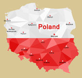 Map of Poland. Vector geometric polygonal map of Poland, painted in the colors of the national flag. Rzeczpospolita Polska and its capitals of voivodeships Royalty Free Stock Photography