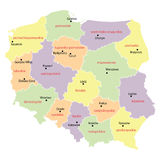 Map of Poland with voivodeships Royalty Free Stock Image