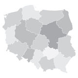 Map of Poland with voivodeships Royalty Free Stock Photo