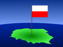 Map with Polish flag Stock Photography