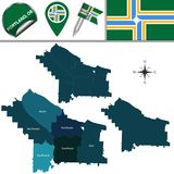 Map of Portland, Oregon with Districts. Vector map of Portland, Oregon with named districts and travel icons stock illustration