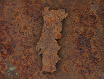 Map of Portugal on rusty metal Royalty Free Stock Photos