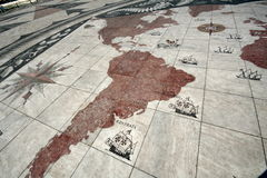 Map of Portuguese Discovery. Map on the floor of Portuguese Discovery monument at Lisbon. One of the most important Portuguese landmarks Royalty Free Stock Photo