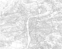 Map of Prague, satellite view, city, Czech Republic Stock Photography