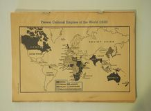 Map of the Prewar Colonial Empires as of 1939. Editorial publication from January 2, 1943 showing the prewar colonial empires of the world as of 1939. The royalty free stock images
