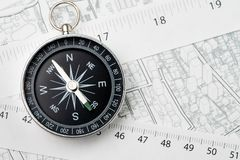 Map of property or real estate location, direction, navigation a. Nd distance concept, compass with measuring tape on transportation and building map with street royalty free stock images