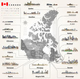 Map of provinces and territories of Canada with largest cities and all states capitals skylines Royalty Free Stock Photos