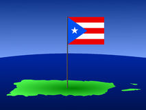 Map of puerto rico with flag Royalty Free Stock Photo