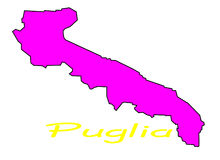 Map of Puglia region Royalty Free Stock Images