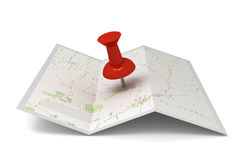 Map and pushpin Royalty Free Stock Images