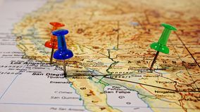 Map with pushpins. Three pushpins on a map of Arizona county royalty free stock images