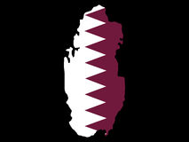 Map of Qatar. And flag illustration Stock Photos
