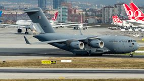 A7-MAP Qatar Air Force, Boeing C-17A Globemaster III. A7-MAP is on taxiway Charlie for departure at Istanbul Ataturk Airport LTBA, November 10, 2018 stock photography