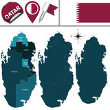Map of Qatar with named municipalities Stock Photo
