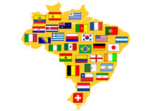 Map with qualified nations for 2014 tournament. Stock Photography
