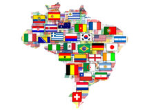 Map with qualified nations for 2014 tournament. Brazil map with flags of qualified nations for 2014 football tournament Stock Images