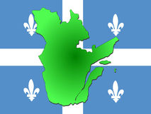 Map of Quebec. And their flag illustration Stock Photo