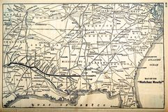 Map/Railroad Routes 1960's. A map showing the southeastern railroad routes of the 1960's when there were still some passenger routes running Stock Images