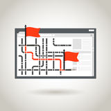 Map and a red flags Royalty Free Stock Photos
