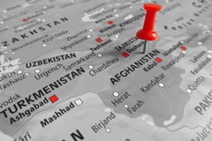 Map with red marker over Afghanistan stock photos
