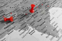 Map with red marker over India royalty free stock photos