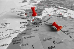 Map with red marker over Magreb stock photo