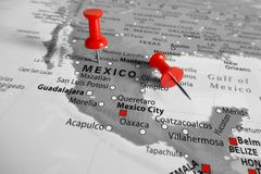 Map with Red marker over Mexico royalty free stock photo