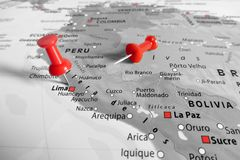 Map  with red marker over Peru. Map with red marker over Peru stock image