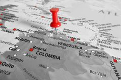 Map with red marker over Venezuela royalty free stock images