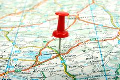 Map and red pin. Cartography map and red pin Royalty Free Stock Photos