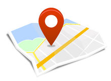 Map with red pin. On  background Royalty Free Stock Photography