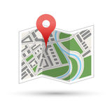 Map with red pin, navigation icon isolated Royalty Free Stock Images