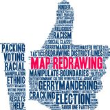 Map Redrawing Word Cloud. Map Redrawing in gerrymandering word cloud on a white background royalty free illustration
