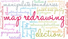 Map Redrawing Word Cloud. Map Redrawing in gerrymandering word cloud on a white background stock illustration