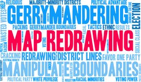 Map Redrawing Word Cloud. Map Redrawing in gerrymandering word cloud on a white background vector illustration