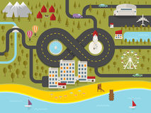 Map of resort town. Vector illustration Royalty Free Stock Photo