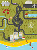 Map of resort town with road in shape of treble cl. Ef. Vector illustration stock illustration